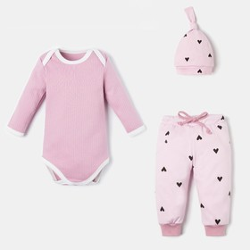 "Set: bodysuit, pants and cap Baby I ""Hearts"", height 86-92 cm"