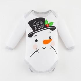 """Боди с дл. рукавом Крошка Я """"Снеговик"""", рост 86-92 см, белый"""