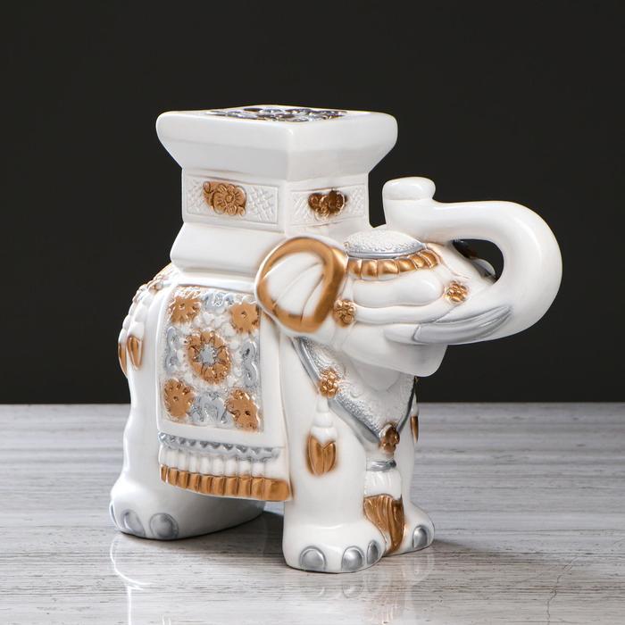 "Подставка- копилка ""Слон"", белая, 27 см"
