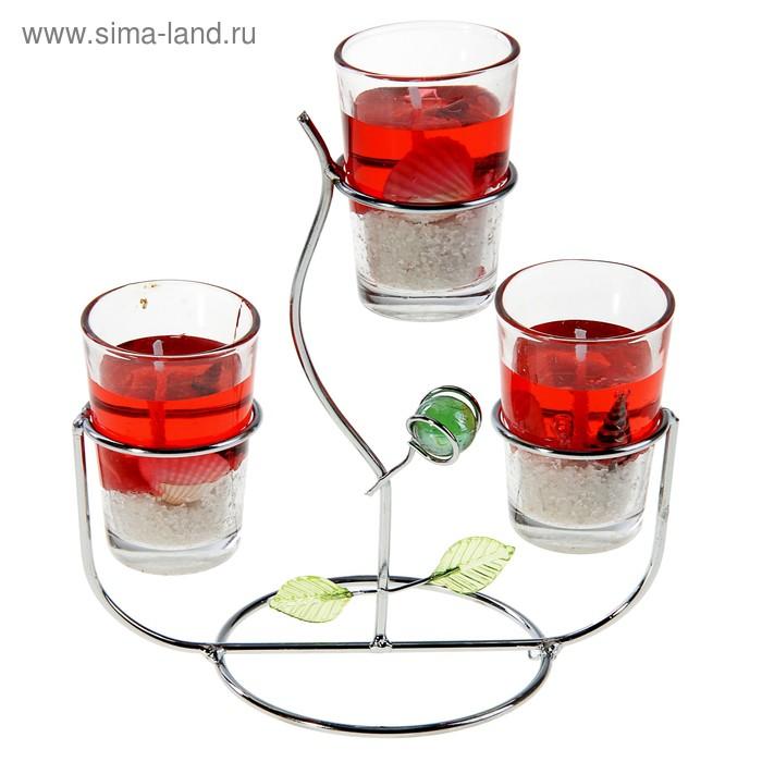 """Подсвечник с гелевыми свечами """"Фантазия"""", цвет красный"""
