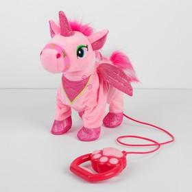 "Soft toy ""Unicorn"" mechanical, on a leash MIX colors"