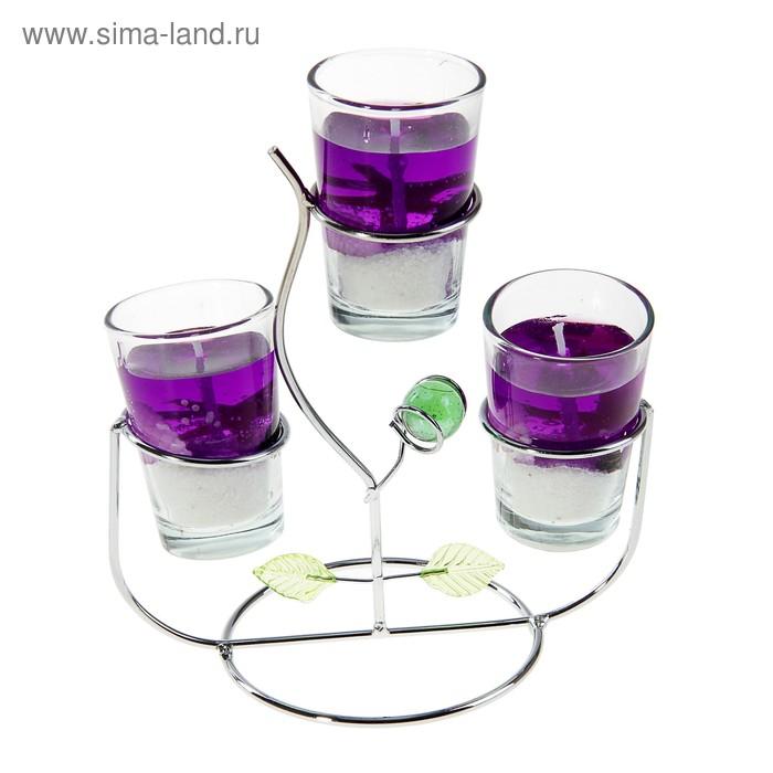 """Подсвечник с гелевыми свечами """"Фантазия"""", цвет фиолетовый"""