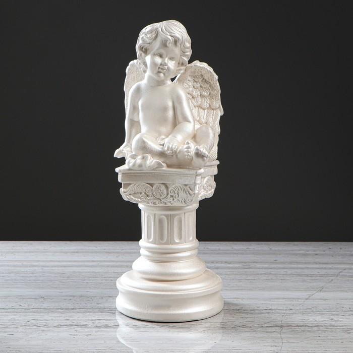 """Статуэтка """"Ангел на колонне"""" перламутровый, 44 см - фото 491578"""