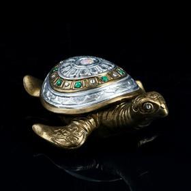 """Статуэтка """"Черепаха №3"""" бронза, камни, длина, 26см"""