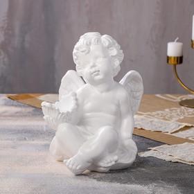 """Статуэтка """"Ангел с чашей сидит"""" большой, белый, 30см"""