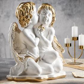 """Статуэтка """"Пара ангелов"""", бело-золотой, 42 см"""