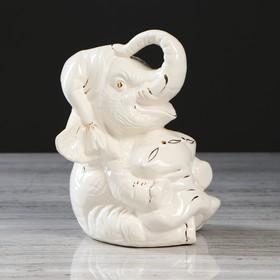 """Копилка """"Слоник с подушкой"""", декор с золотом, 20 см"""