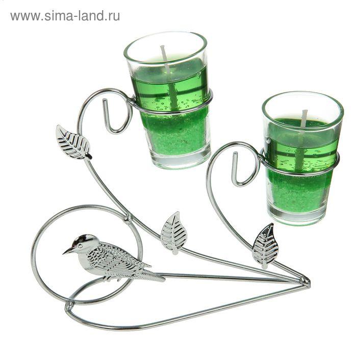 """Подсвечник с гелевыми свечами """"Птичка"""", цвет зеленый"""