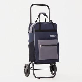 Сумка-тележка, 1 отдел, 2 наружных кармана, колёса 16,5 см, нагрузка до 40 кг, цвет синий