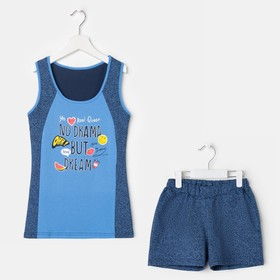 Комплект (майка, шорты) для девочки, цвет синий, рост 146 см (76)