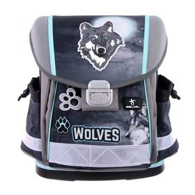 Ранец на замке Belmil Classy 36 х 32 х 19, для мальчика, Wolf, серый