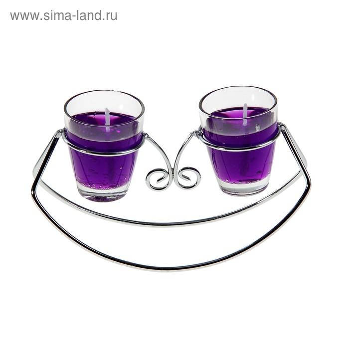 """Подсвечник с гелевыми свечами """"Лодочка"""", цвет фиолетовый"""