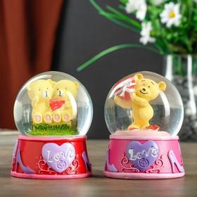 "Souvenir Polyresin water globe light ""Bear with heart/Teddy bear on a bench"" MIX 8,5х7х7 cm"