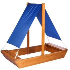 Песочница деревянная с крышей, 200 × 100 × 24 см, цветная, «Маленький капитан»