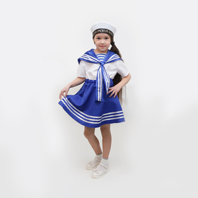 """Карнавальный костюм""""Морячка""""платье,бескозырка,р-р32,рост122-128"""