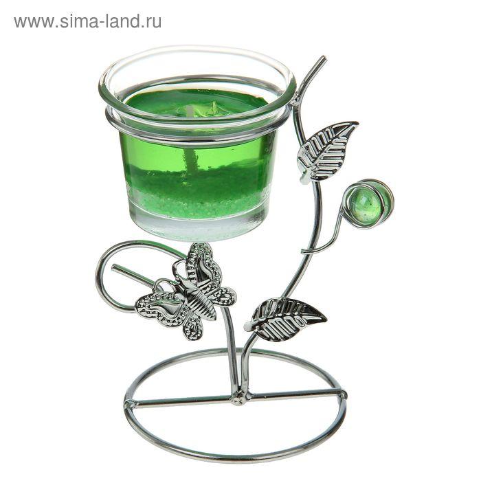 """Подсвечник с гелевой свечой """"Бабочка"""", цвет зелёный"""
