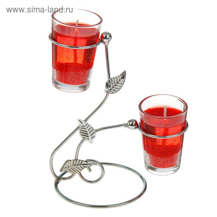 """Подсвечник с гелевыми свечами """"Завитки"""", цвет красный"""