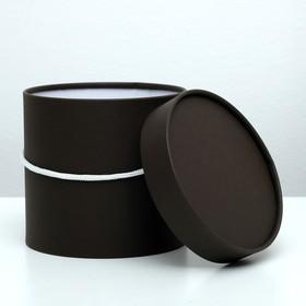 Подарочная коробка, круглая, коричневая, 15 х 15 см