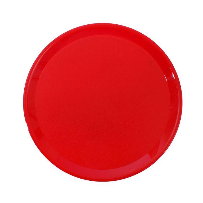 Поднос пластиковый круглый, цвет красный