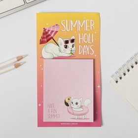 """Block of paper to write on the magnet """"Summer holidays"""""""