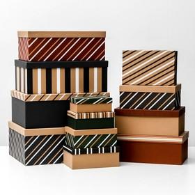 Набор подарочных крафтовых коробок 12 в 1 «Полоски», 18 х 11 х 6.5 см - 46,6 х 35,2 х 17.5 см