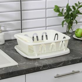 Сушилка для посуды с поддоном «Люкс», 36×31×12,5 см, цвет МИКС