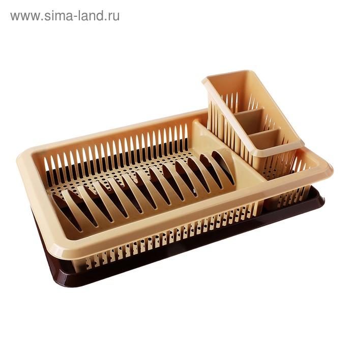 """Сушилка для посуды """"Лилия"""" с отделением для столовых приборов, поддон, бежево-коричневая"""