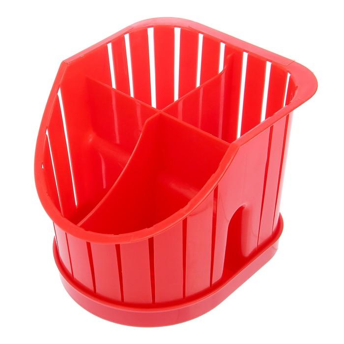 """Сушилка для столовых приборов """"Лилия"""", 4 секции, поддон, цвет МИКС"""