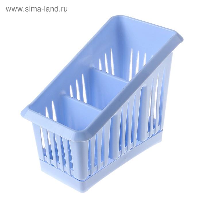 """Сушилка для столовых приборов 3х-секционная """"Лилия"""", цвет голубой"""
