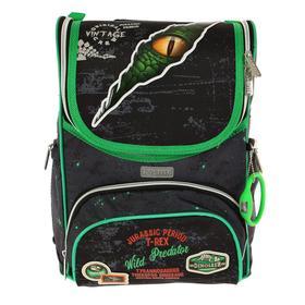 Ранец Стандарт deVENTE Mini 35 х 26 х 20 см, Jurassic Period, чёрный/зелёный