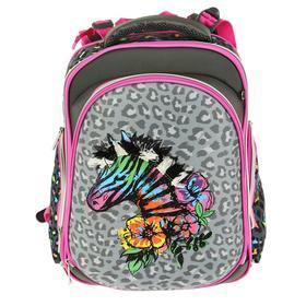 Рюкзак каркасный, deVENTE Step, 38 х 28 х 16 см, Zebra, серый/розовый