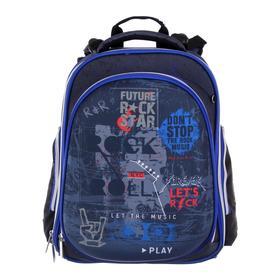 Рюкзак каркасный, deVENTE Step, 38 х 28 х 16 см, Rock Star, чёрный/синий