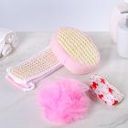 Набор банный в пакете 4 предмета: 3 мочалки, шапочка для душа сизаль, цвета МИКС