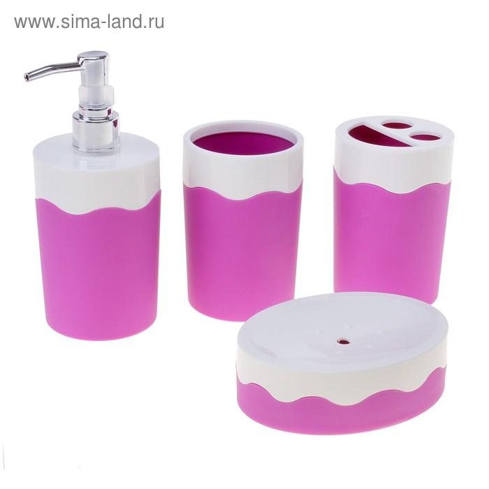 """Набор для ванной комнаты """"Волна"""", 4 предмета: дозатор для мыла, 2 стакана, мыльница, цвета МИКС"""