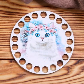 "Blank crochet ""Cat with wreath"" 12 cm plywood"