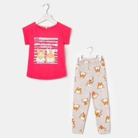 Пижама для девочки (футболка, брюки), цвет розовый/серый, рост 110 см