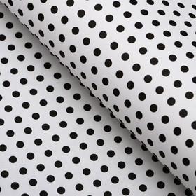 "Бумага упаковочная, ""Горох малый"", крафт белый, черная, 50 х 70 см"