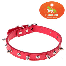 Collar lion with spikes 47 x 2 cm, artificial leather, red