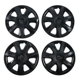 Hubcaps wheel R15 JOY, gloss black, carbon, set 4 PCs