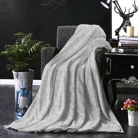 Плед, размер 150 × 200 см, принт розы, серый
