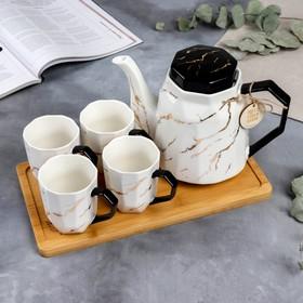 Сервиз «Счастье ждёт тебя дома»: чайник 1.3 л, кружки 4 шт., 300 мл