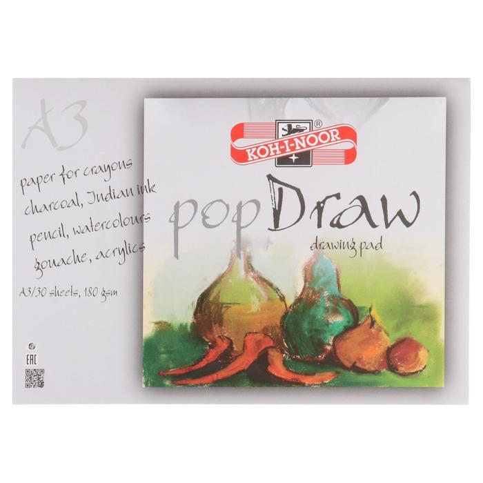 Блокнот для рисунков А3, 30 листов на склейке Koh-i-noor, блок 180 г/м2 - фото 2126789