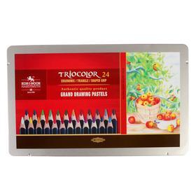 Карандаши 24 цвета Koh-i-noor 3164 Triocolor, трехгранные, в металлическом пенале