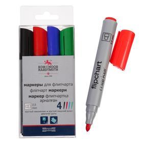 Набор маркеров для флипчарта 4 цвета, 2,5 мм Koh-i-noor 1405/4, круглые, пластиковая упаковка, европодвес