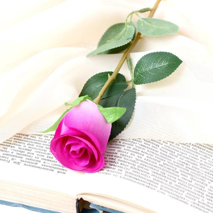 """Цветок искусственный """"Бутончик розы"""" 5х50 см сиреневый - фото 4456262"""