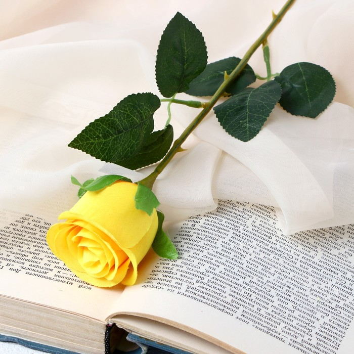 """Цветок искусственный """"Бутончик розы"""" 5х50 см жёлтый - фото 4456268"""