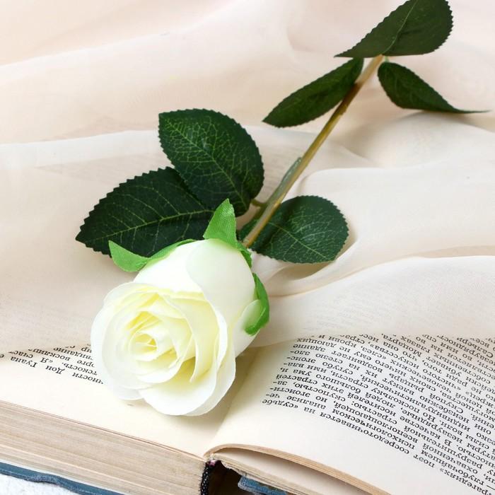 """Цветок искусственный """"Бутончик розы"""" 5х50 см белый - фото 4456270"""