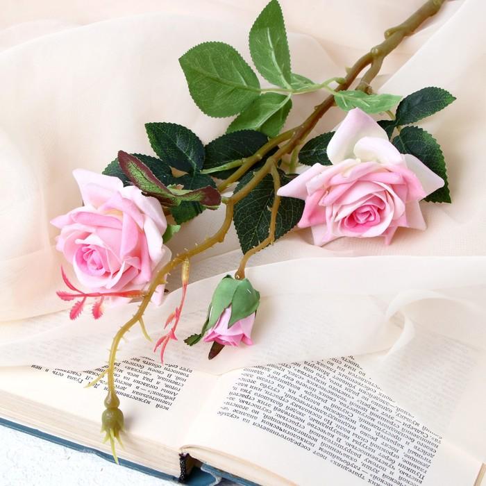 """Цветы искусственные """"Розы с шипами"""" 8х40 см розовый - фото 4456274"""