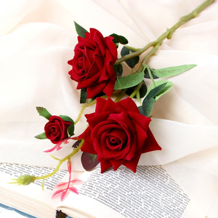 """Цветы искусственные """"Розы с шипами"""" 8х40 см красный - фото 4456276"""