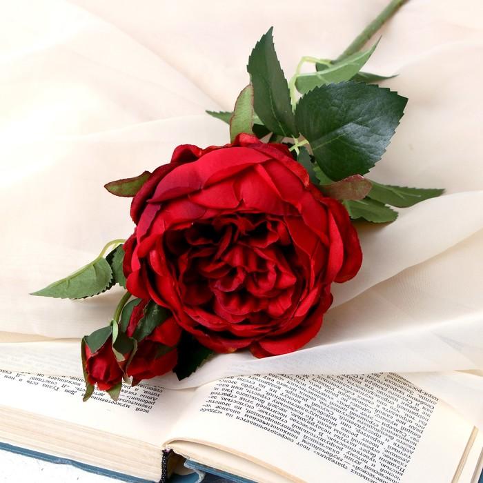 """Цветы искусственные """"Роза Трио"""" 10х65 см бордовый - фото 4455792"""
